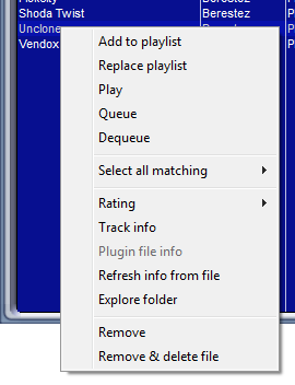Library Track context menu