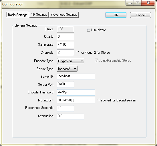 Edcast encoder configuration settings