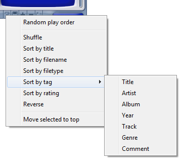 Random & sorting context menu