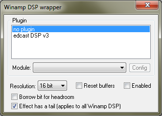 Winamp DSP wrapper configuration panel