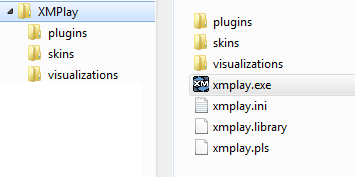 Example directory structure, with separate folders for plugins, visuals and skins