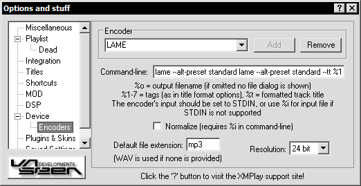 Encoder options